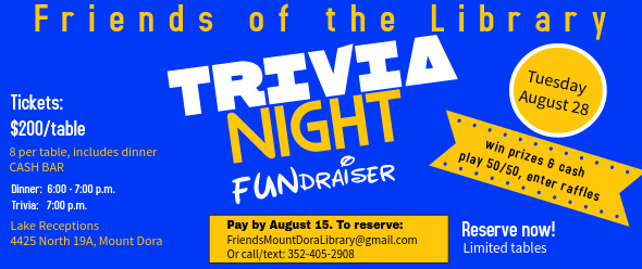 Trivia Night Presented by the Friends of the Library- August 28, 2018